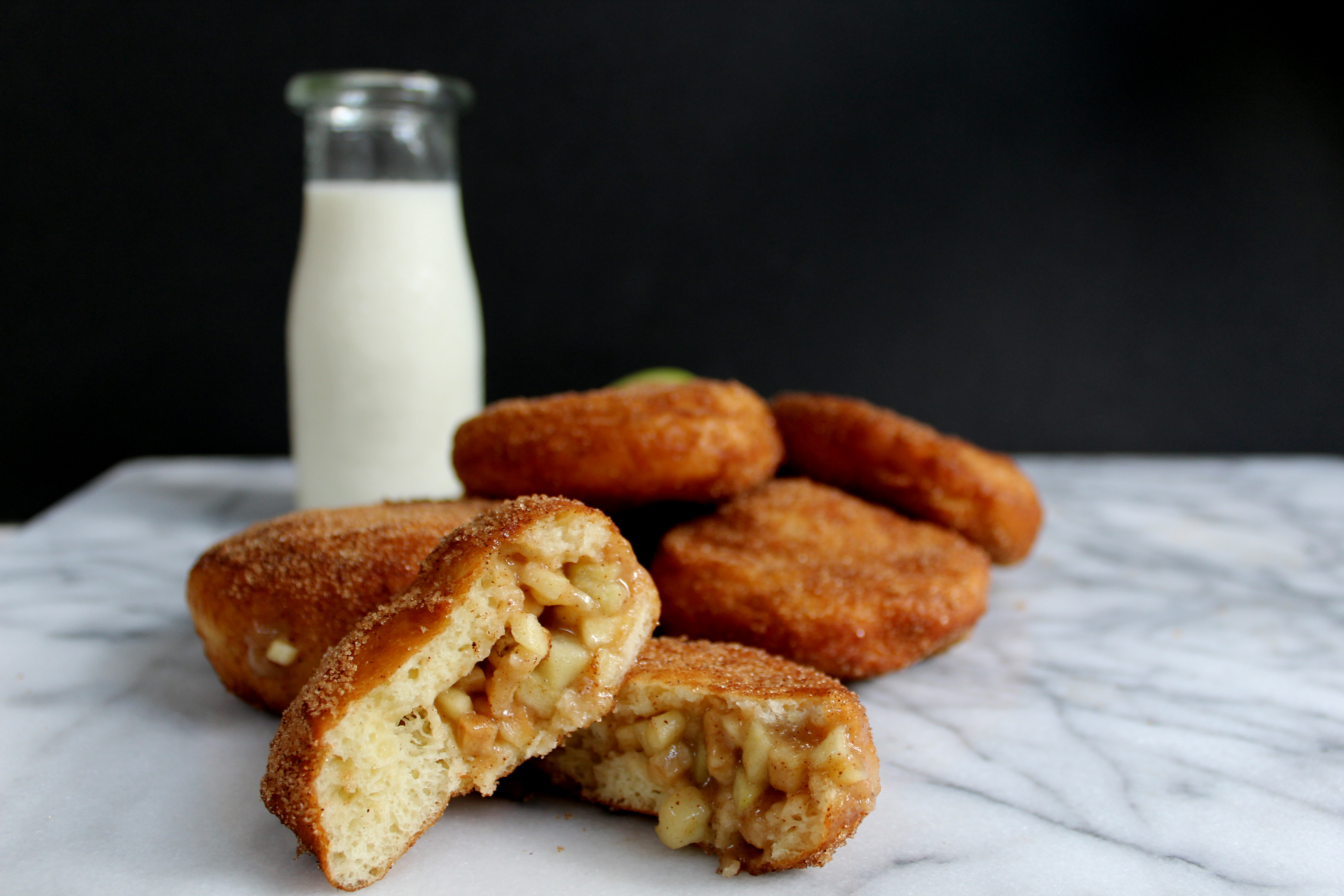 Cinnamon Sugar Jelly Doughnuts with Apple Pie Filling