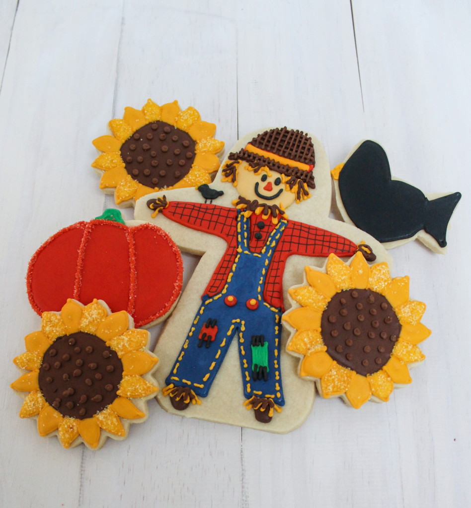 Scarecrow  and Autumn Themed Decorated Cookies