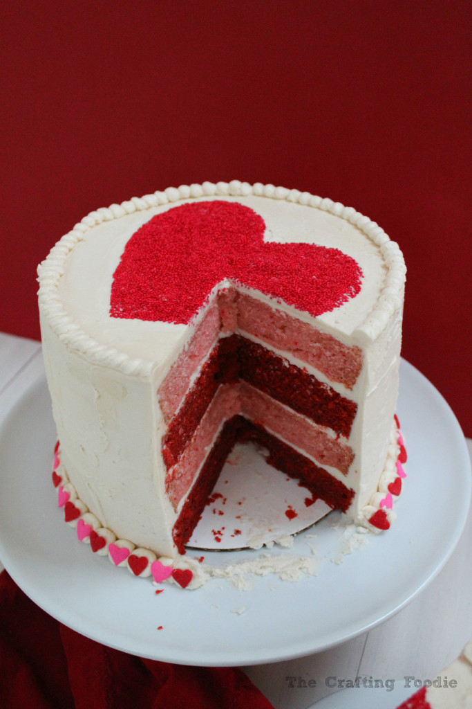 Valentine's Day Red and Pink Velvet Cake