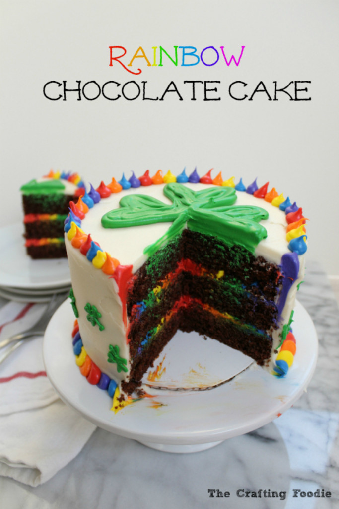 Chooclate Rainbow Cake with Rainbow Frosting|The Crafting Foodie