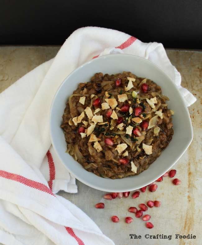 Lentils with Pomegranate Molasses and Sauted Onion|The Crafting Foodie