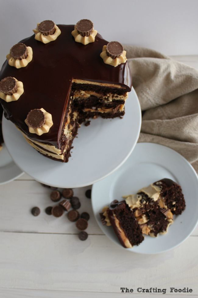 Chocolate Peanut Butter Cup Cake - Tastes of Lizzy T's