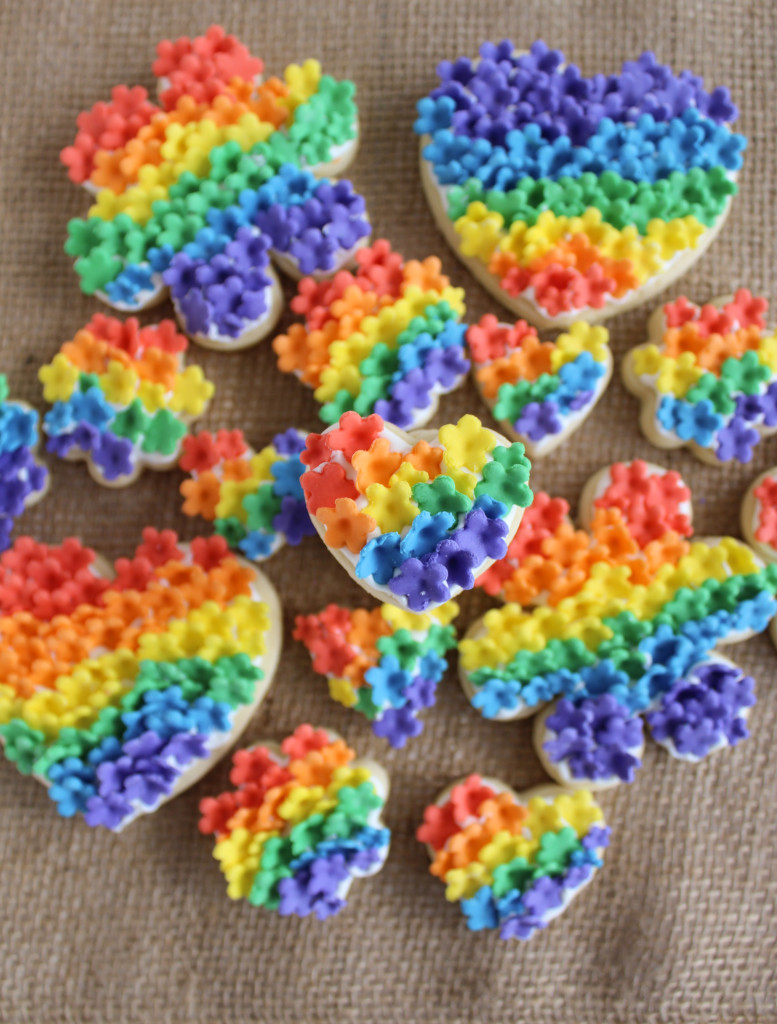 Rainbow Flower Cookies made with Fondant