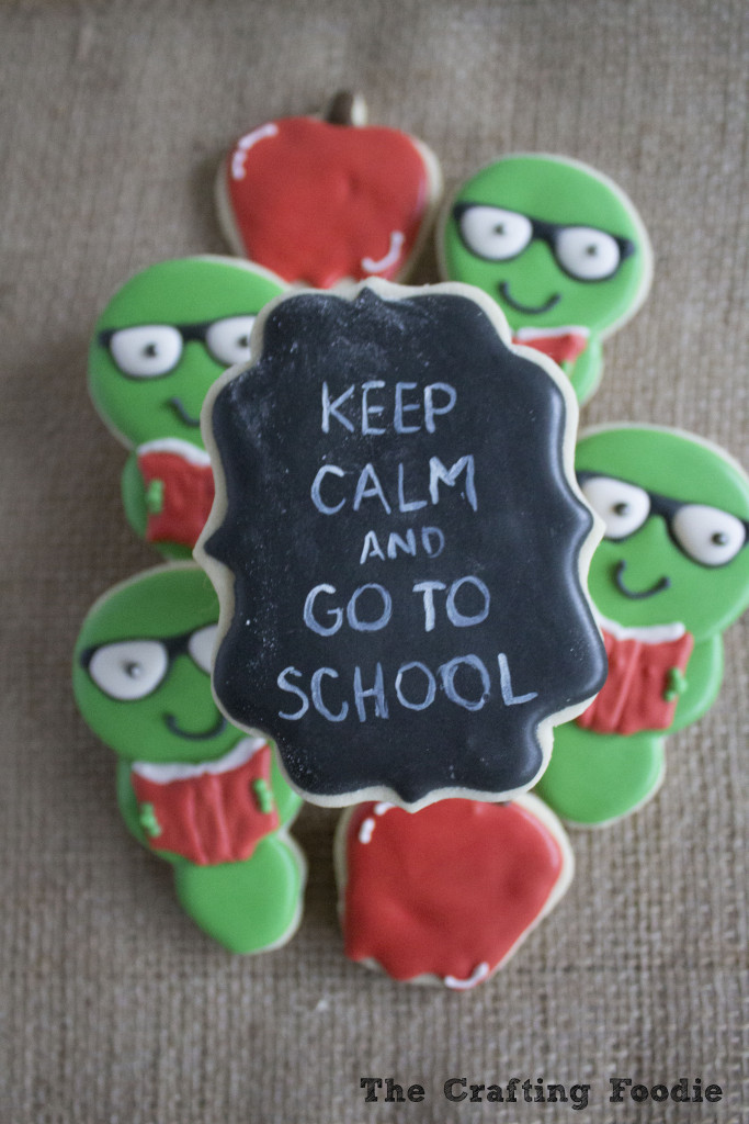 Back To School Sugar Cookies – Bookworms and Chalkboard Decorated Cookies