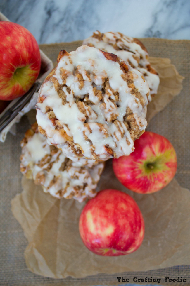 Apple Fritter Cakes with Glaze|The Crafting Foodie
