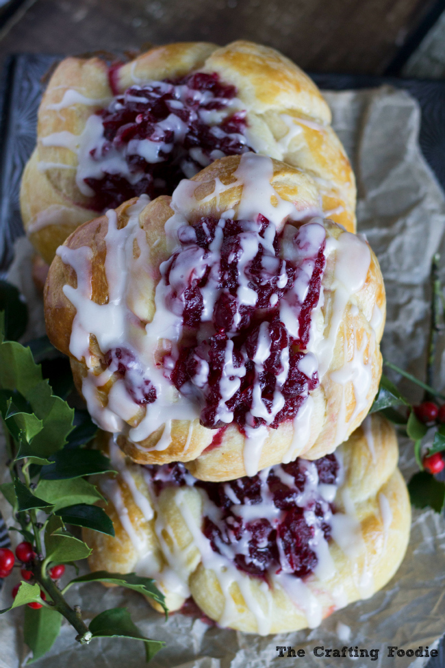 Cranberry Coffee Cake Pastries with Sweet Glaze|The Crafting Foodie