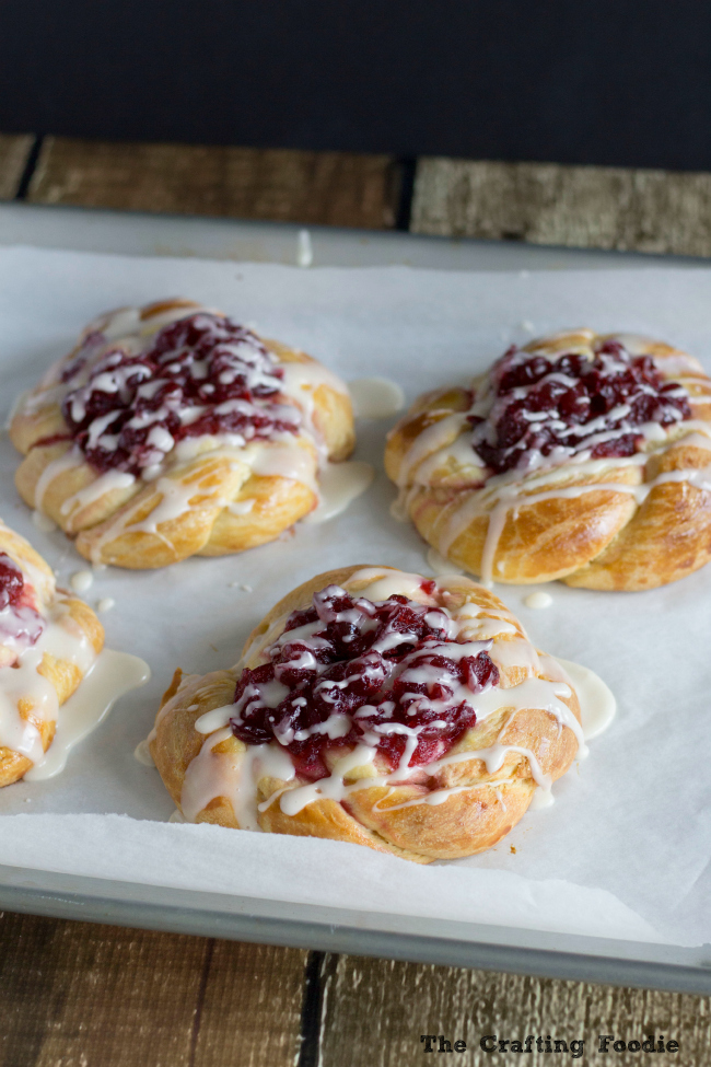 Cranberry Coffee Cake Pastries with Vanilla Glaze|The Crafting Foodie
