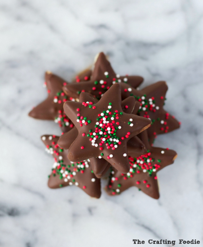 Dark Chocolate Peppermint Star Cookies