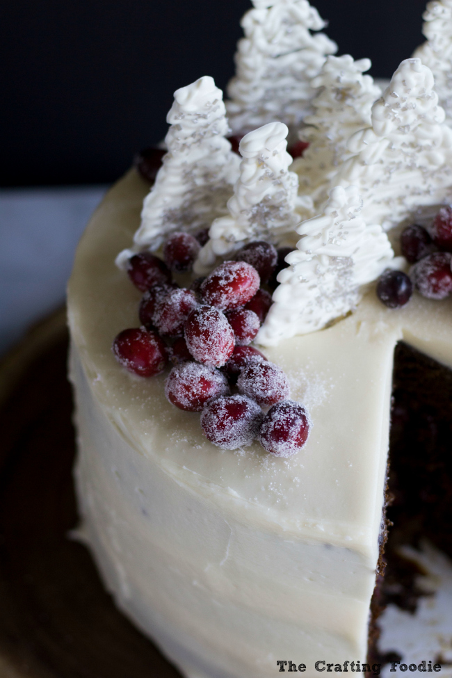 Gingerbread Layer Cake with Fresh Cranberries|The Crafting Foodie
