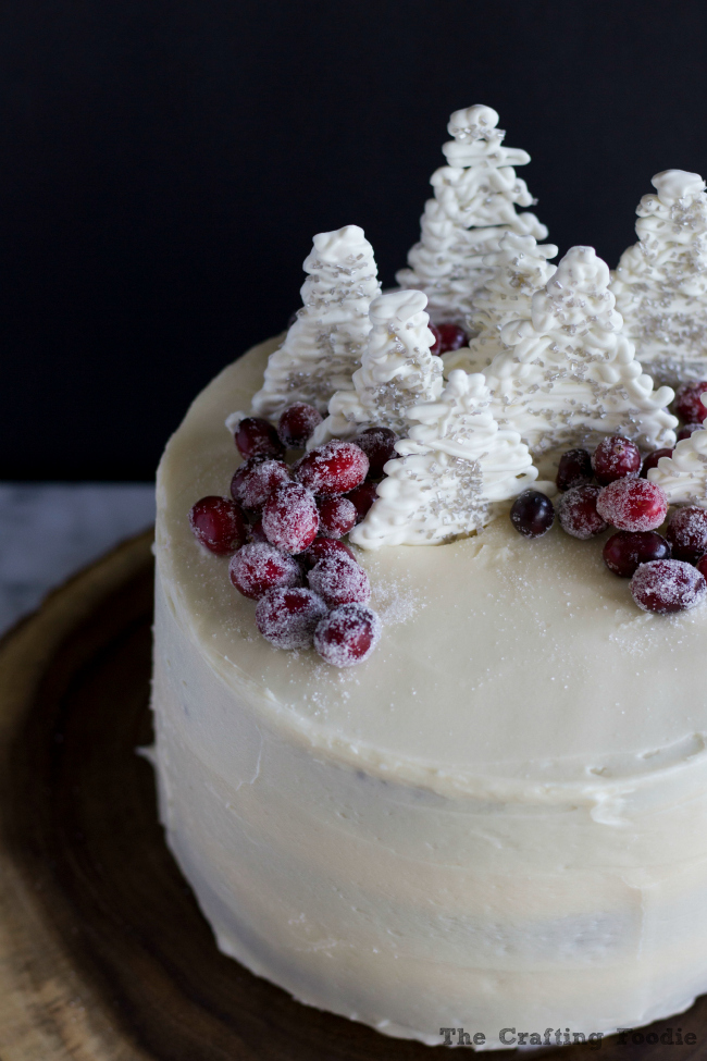 Gingerbread Layer Cake with white Chocolate Trees|The Crafting Foodie