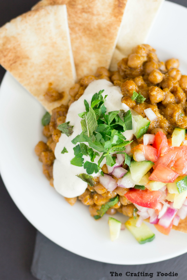 Baked Chickpeas with Tahini Sauce