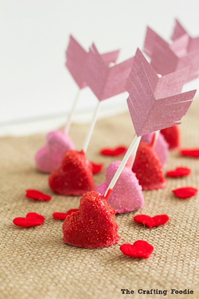 Red and Pink Sparkly Cupid's Arrow Cake PopsThe Crafting Foodie