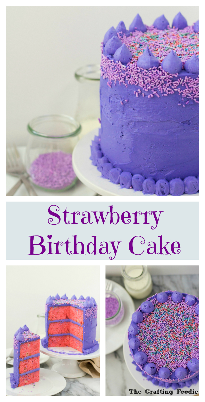 Strawberry Birthday Cake Long PinThe Crafting Foodie