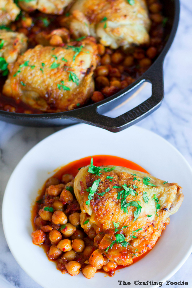 Roasted Chicken with Chickpeas and HarissaThe Crafting Foodie