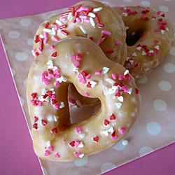 Vanilla Bean Glazed Heart Doughnuts
