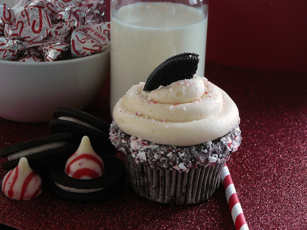 Chocolate Peppermint Cupcakes with Candy Cane Joe-Joe's