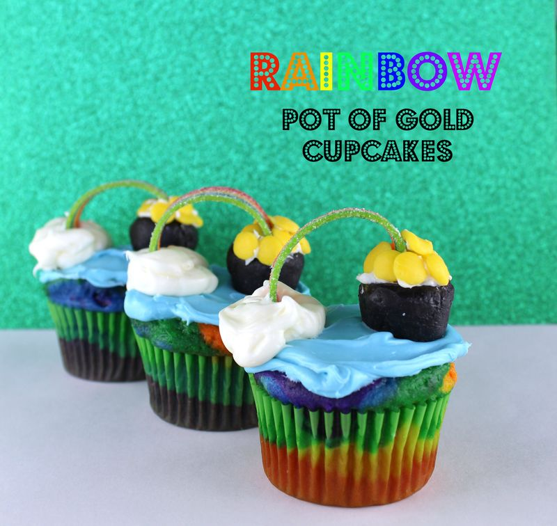 Rainbow Cupcake with a Pot of Gold  The Crafting Foodie