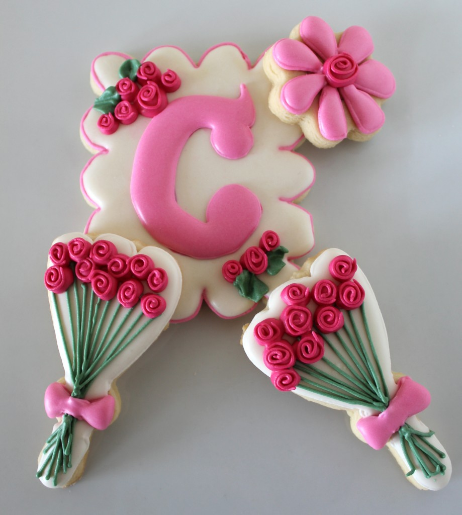 Spring Inspired Decorated Cookies Featuring Roses and Monogrammed Cookies