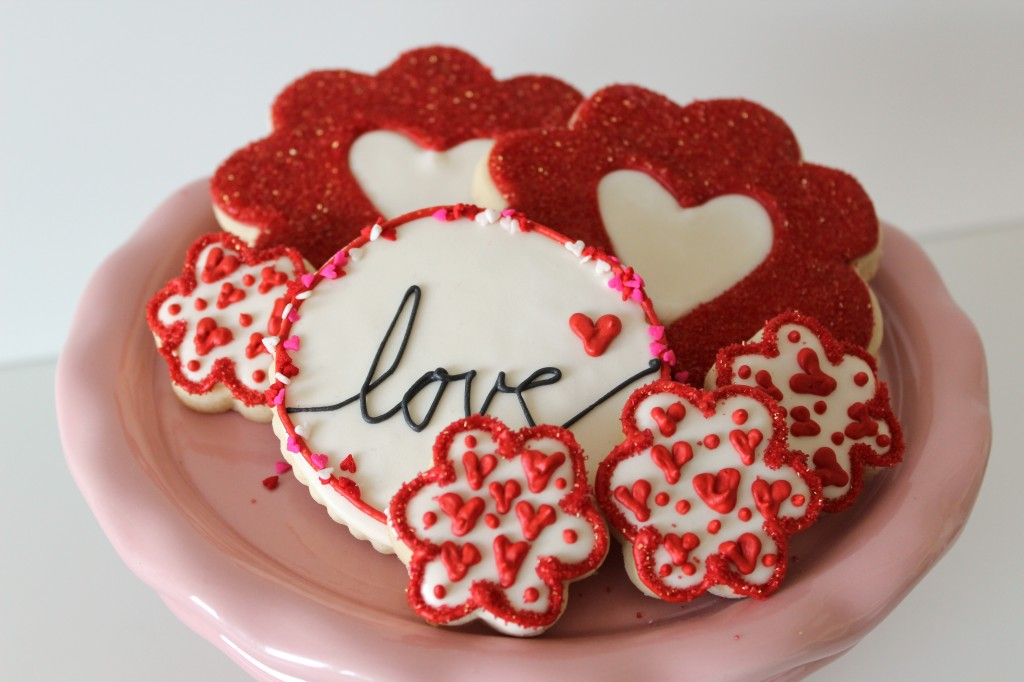 Heart Themed Decorated Cookies for Valentine's Day