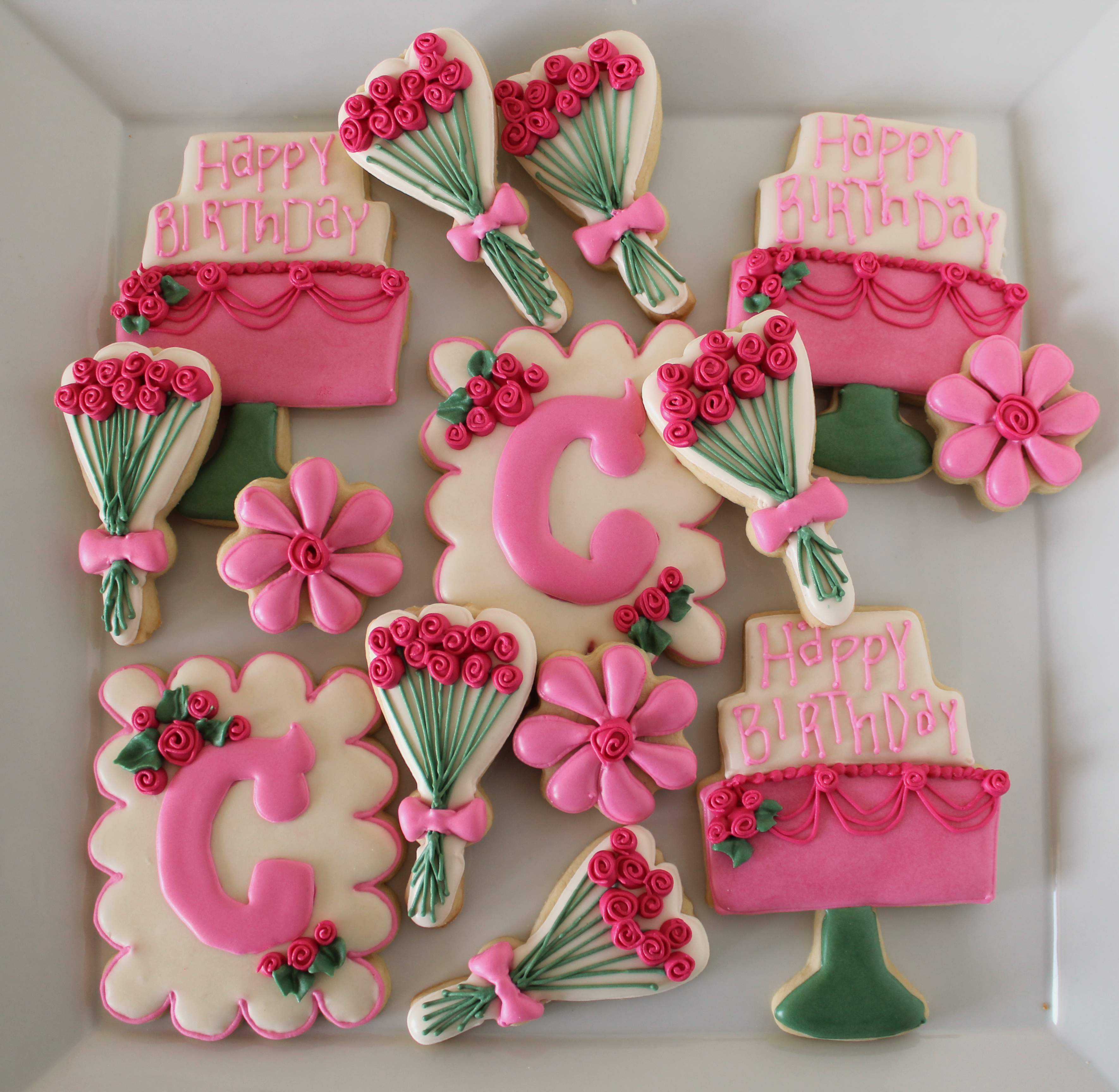 Spring Inspired Decorated Cookies Featuring Roses and Monogrammed ...